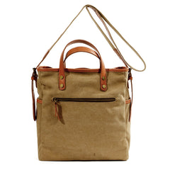 Cool Canvas Leather Mens Small Brown Messenger Bag Vertical Side Bag Shoulder Bag Tote Handbag For Men