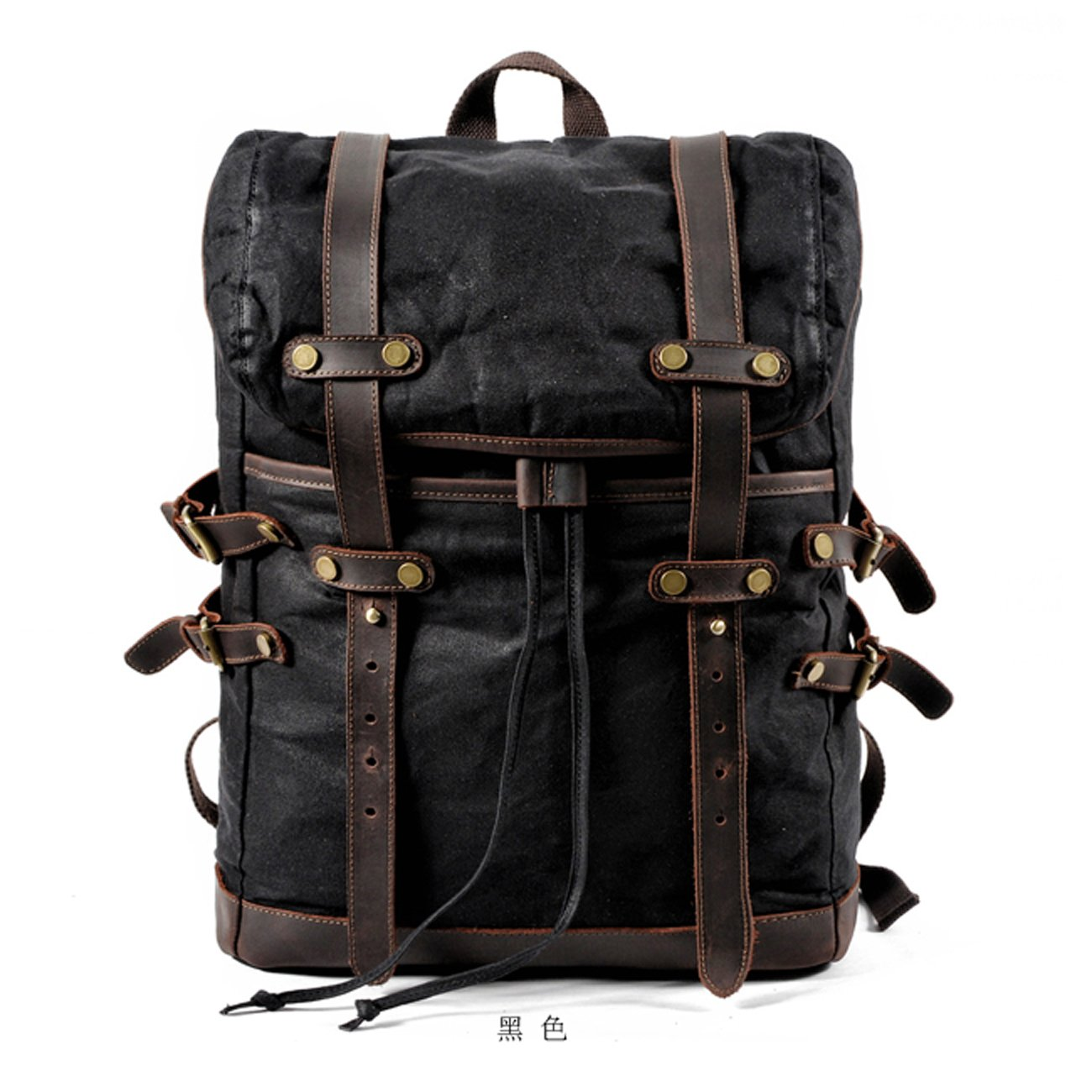 Waxed Canvas Leather Mens 15'' Computer Backpack Black Hiking Backpack Travel Backpack for Men