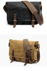 Waxed Canvas Leather Mens Black Waterproof 14'' Camera Bag Gray Side Bag Messenger Bag Shoulder Bag For Men