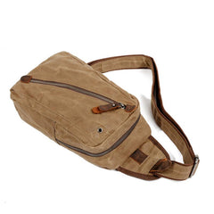 Cool Canvas Leather Mens Waterproof Sling Bag Chest Bag One Shoulder Bag for Men