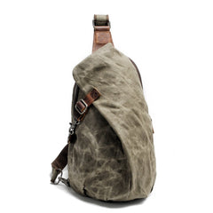 Cool Canvas Leather Mens Sling Bag Waterproof Chest Bag One Shoulder Backpack for Men