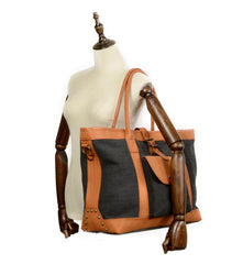 Cool Canvas Leather Mens Womens Casual Shopping Bag Tote Bag Shoulder Bag Tote Purse For Men