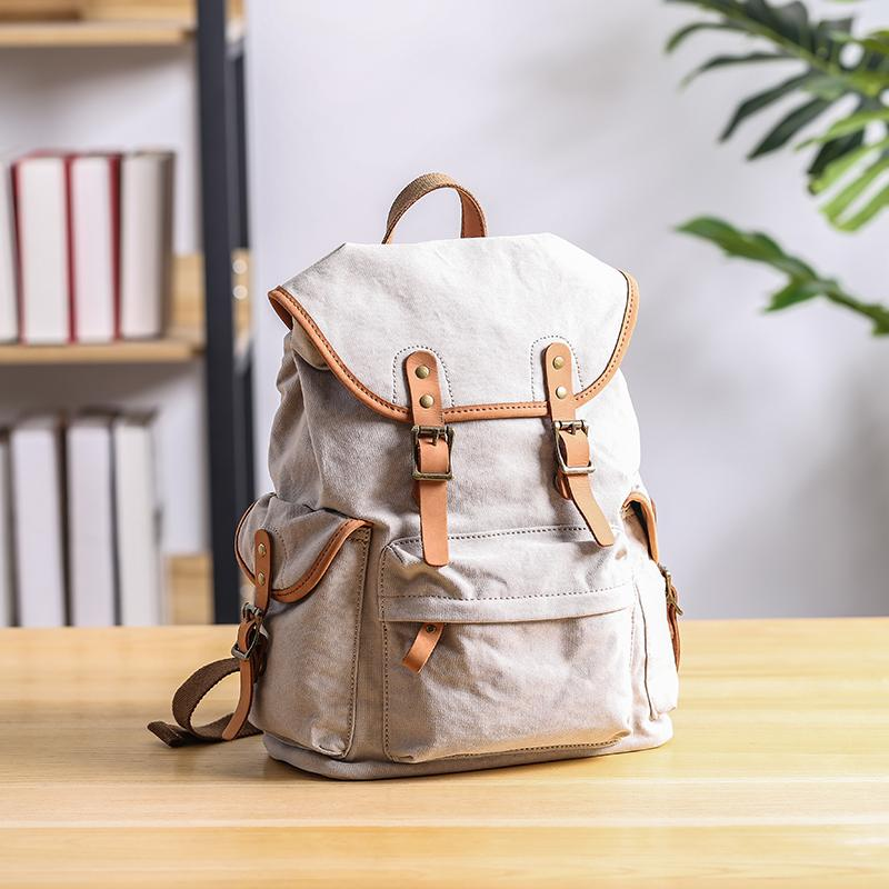 Cool Canvas Leather Mens Womens 13'' White Backpack Khaki Travel Backpack College Backpack  for Men