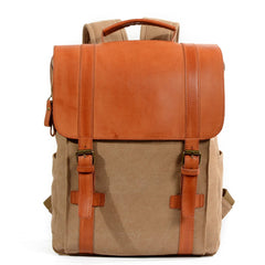 Cool Canvas Leather Womens Mens College Backpack 14'' Travel Backpack Computer Backpack for Men