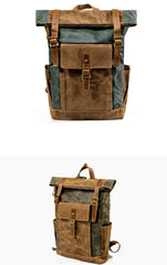 Cool Waxed Canvas Mens Waterproof Green Travel Backpack 15'' Gray Computer Backpack Hiking Backpack for Men