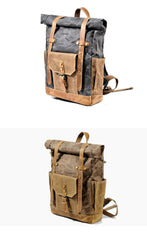 Cool Canvas Leather Mens Green Large Waterproof Travel Backpack Computer Hiking Backpack for Men