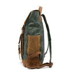 Cool Waxed Canvas Mens Womens Waterproof Large Travel Backpack 15'' Computer Hiking Backpack for Men