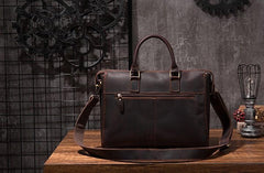 Cool Coffee Leather Mens Briefcase 15inch Laptop Bag Work Handbag Business Bag for Men