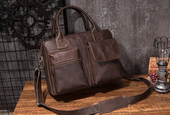 Cool Coffee Leather Mens Briefcase Work Handbag 15inch Laptop Bag Business Bag for Men