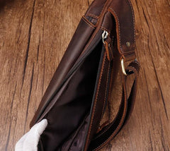 Cool Brown Leather Triangular Chest Bag Sling Bag Sling Crossbody Bag For Mens