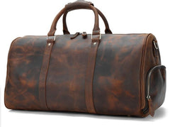 Cool Vintage Brown Leather Men Barrel Overnight Bags Travel Bags Weekender Bags For Men
