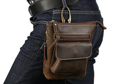 Cool Dark Brown Leather Mens Belt Pouch Mini Shoulder Bags Waist Bags For Men