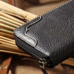 Handmade Leather Long Coffee Mens Clutch Wallet Vintage Zipper Wallet for Men