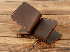 Cool Handmade Leather Mens Brown Bifold billfold Wallet Small Wallet  for Men