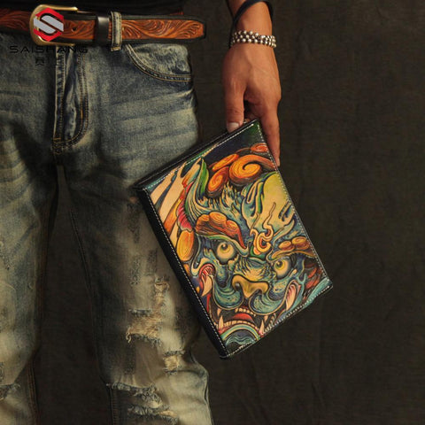 Cool Handmade Tooled Leather Tan Floral Skull Clutch Wallet Wristlet Bag Clutch Purse For Men