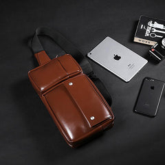 Cool PU Leather Men's Brown One Shoulder Backpack Black Chest Bag Sling Bag For Men