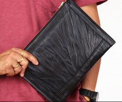 BLACK Coffee MENS LEATHER SLIM ZIPPER CLUTCH WRISTLET PURSE BAG CLUTCH BAG FOR MEN