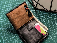 Cool Leather Men Slim Small Wallet Bifold Short Wallet for Men