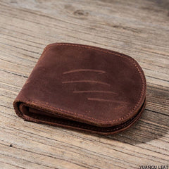 Cool Leather Men Small Wallet Bifold Vintage Short Wallet for Men