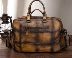 Cool Leather Men Vintage Briefcase 14inch Work Bags Handbag Shoulder Bags For Men