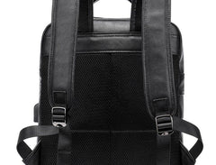 Cool Leather Black Mens Backpacks Vintage School Backpack Travel Backpack Bags for Men