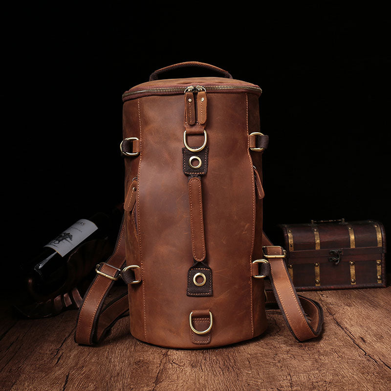 3ed39234ad23 ... the latest 75476 37983 Cool Leather Mens Barrel Shoulder Bags Backpack  Travel Bag f ...