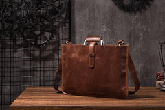 Cool Leather Mens Briefcase 13inch Laptop Bag Work Handbag Business Bags for Men