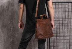 Cool Leather Mens Briefcase 14inch Laptop Bag Work Handbag Shoulder Bag Business Bag for Men