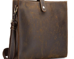 Cool Vintage Brown Leather Mens Messenger Bag Side Bag Work Bag Shoulder Bag for Men