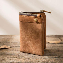 Cool Leather Mens Brown Small Wallet Bifold Vintage Slim Short Wallet for Men
