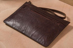 Long Leather Mens Clutch Wallet Wristlet Wallet Vintage Zipper Clutch for Men