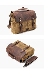 Cool Canvas Leather Mens Side Bag Black Shoulder Bag Khaki Messenger Bag for Men
