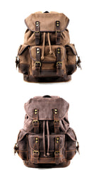 Cool Canvas Leather Mens Large Black Backpack Travel Backpack Hiking Backpack for Men