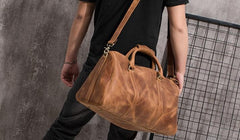 Cool Leather Mens Overnight Bag Weekender Bags Vintage Travel Bags Duffle Bags for Men
