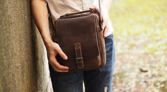 Cool Leather Mens Small Messenger Bag Side Bag Small Vintage Shoulder Bag for Men