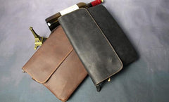 Cool Leather Mens Small Side Bag 11inch Clutch Purse Bag Messenger Bag for Men