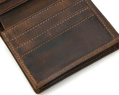 Cool Leather Mens Small Bifold Wallet Short Wallet Front Pocket Wallets for Men