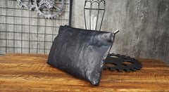 Cool Leather Mens Soft Leather Zipper Clutch Bag Wristlet Purse for Men