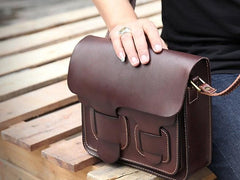 Cool Leather Mens Tan Messenger Bag Side Bag Small Shoulder Bag for Men