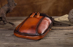 Cool Leather Tan Belt Waist Bag Belt Pouch for Men Mini Shoulder Bag For Men