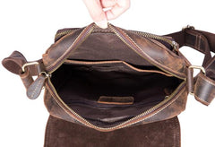 Cool Leather Vintage Mens Brown Small Side Bag Small Messenger Bags For Men