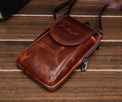 Cool Leather Mens Vintage Small Side Bag Belt Pouch Waist Bag For Men