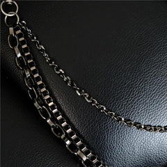 Cool Men's Cross Three Layer Wallet Chain Pants Chain Punk Biker Wallet Chain For Men