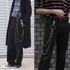Fashion Men's Womens Double Bead Stainless Steel Pants Chains Biker Wallet Chain For Men