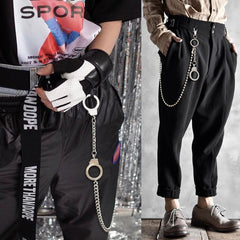 Fashion Womens Men's Handcuffs Stainless Steel Jean Chain Pants Chain Biker Wallet Chain For Men