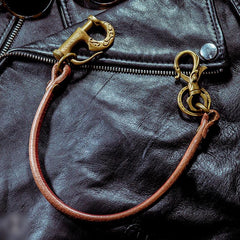 Cool Men's Leather Gold Brass Hook Key Chain Pants Chains Biker Wallet Chain For Men