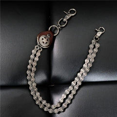 Cool Men's Silver Double Bike Chain Pants Chain Punk Biker Wallet Chain For Men