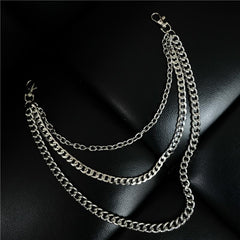 Cool Men's Silver Long Triple Pants Chain Punk Long Biker Wallet Chain For Men