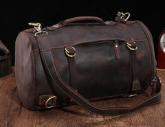 Cool Mens Leather Barrel Backpack Overnight Bag Travel Backpack Weekender Bag for men