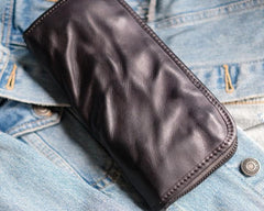 Cool Mens Leather Zipper Long Clutch Wallet Zipper Vintage Long Wallet For Men